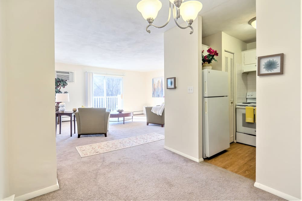 entry to kitchen and living room in apartment at Park Village West in Westborough, Massachusetts