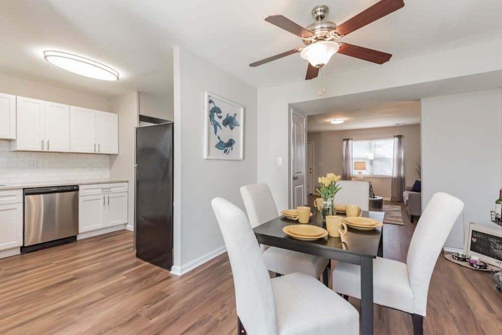 A set dining room table in an apartment at The Springs in Parkville, Maryland