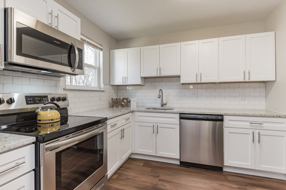 An apartment kitchen at The Springs in Parkville, Maryland