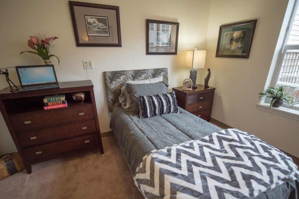Bedroom suite at Kenmore Senior Living in Kenmore, Washington