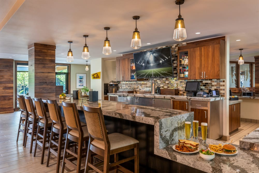 Sports bar in the lounge at The Springs at Lake Oswego in Lake Oswego, Oregon