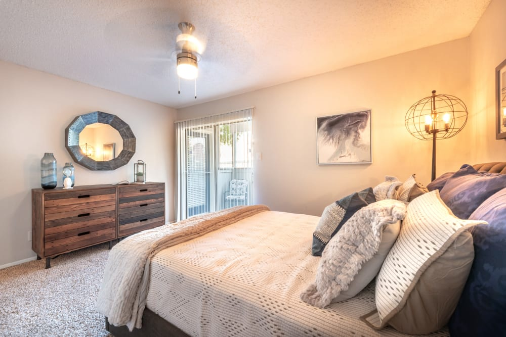 Spacious primary bedroom at Lane at Towne Crossing in Mesquite, Texas