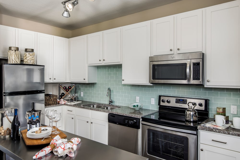 Model kitchen at BluWater Apartments in Jacksonville Beach, Florida