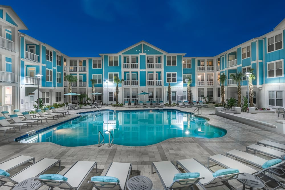 Sparkling Pool at BluWater Apartments in Jacksonville Beach, Florida