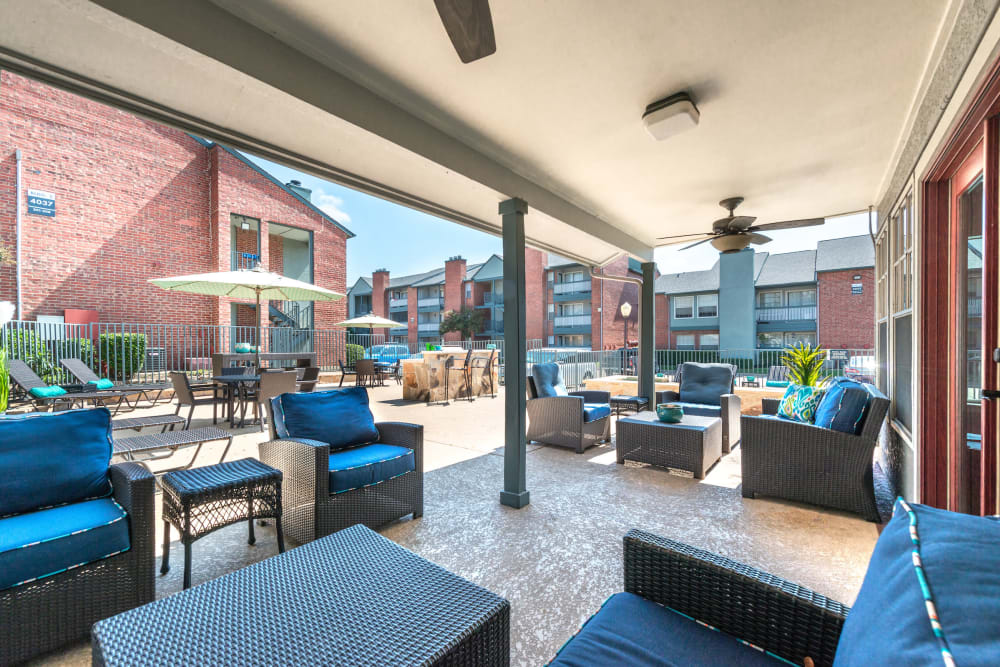 Outdoor lounge at Lane at Towne Crossing in Mesquite, Texas