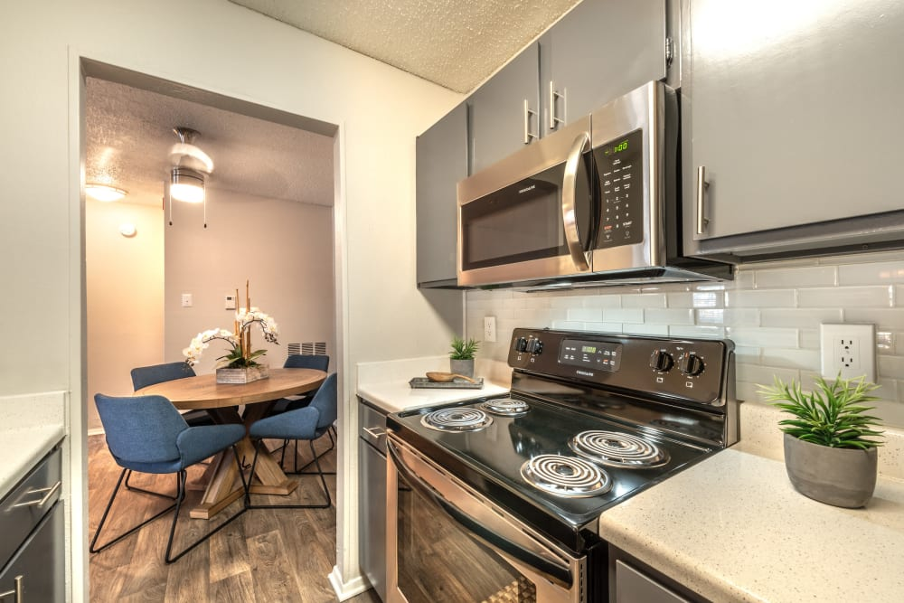 Fully equipped kitchen at Lane at Towne Crossing in Mesquite, Texas