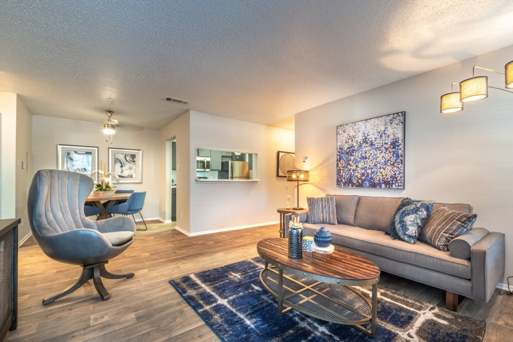 Spacious living room at Lane at Towne Crossing in Mesquite, Texas