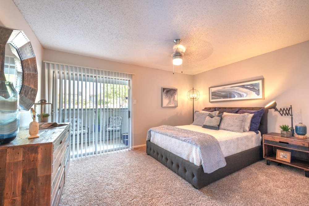Bright bedroom at Lane at Towne Crossing in Mesquite, Texas