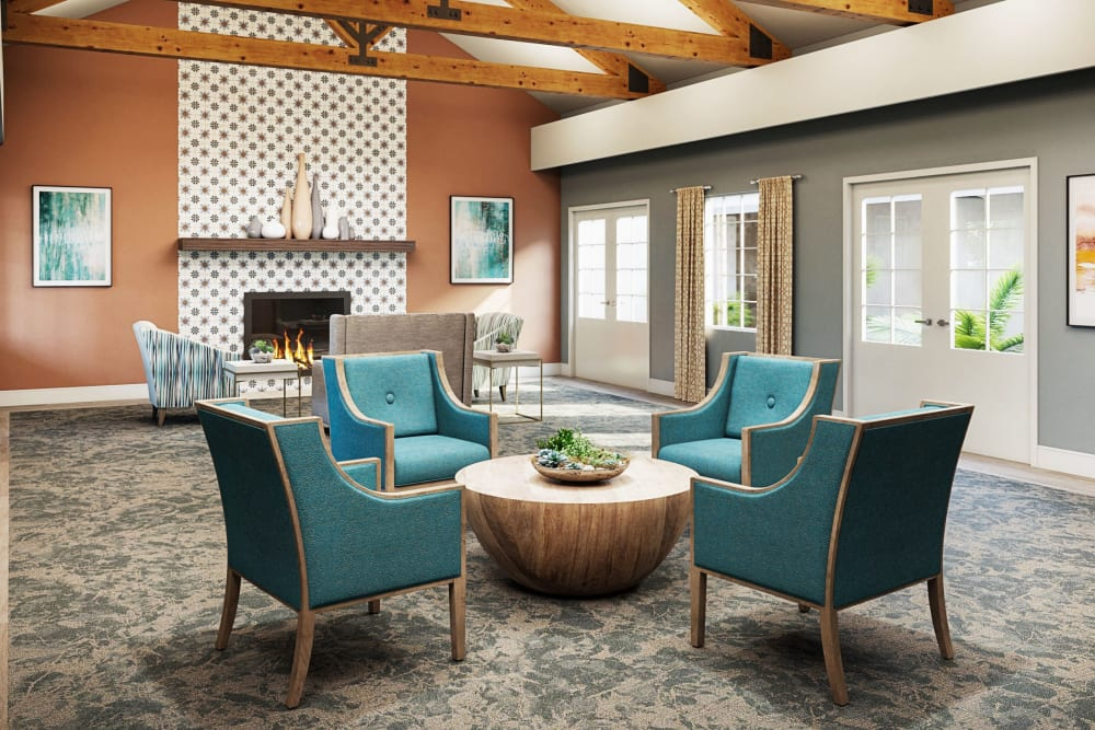 Renovated lounge at Del Obispo Terrace Senior Living in San Juan Capistrano, CA