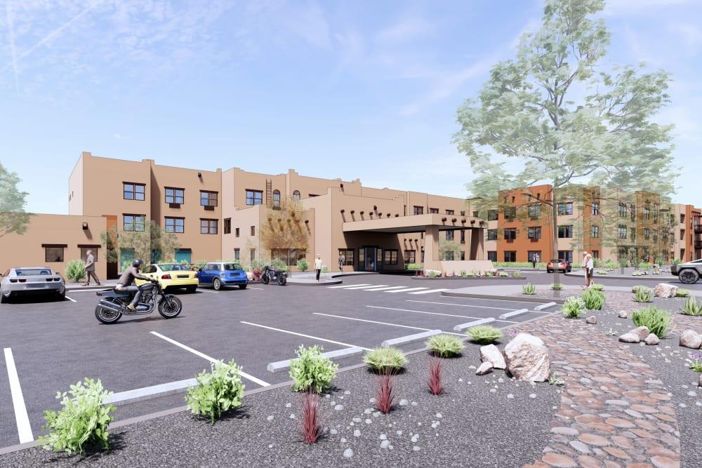 Exterior rendering of building at Ativo Senior Living of Albuquerque in Albuquerque, New Mexico