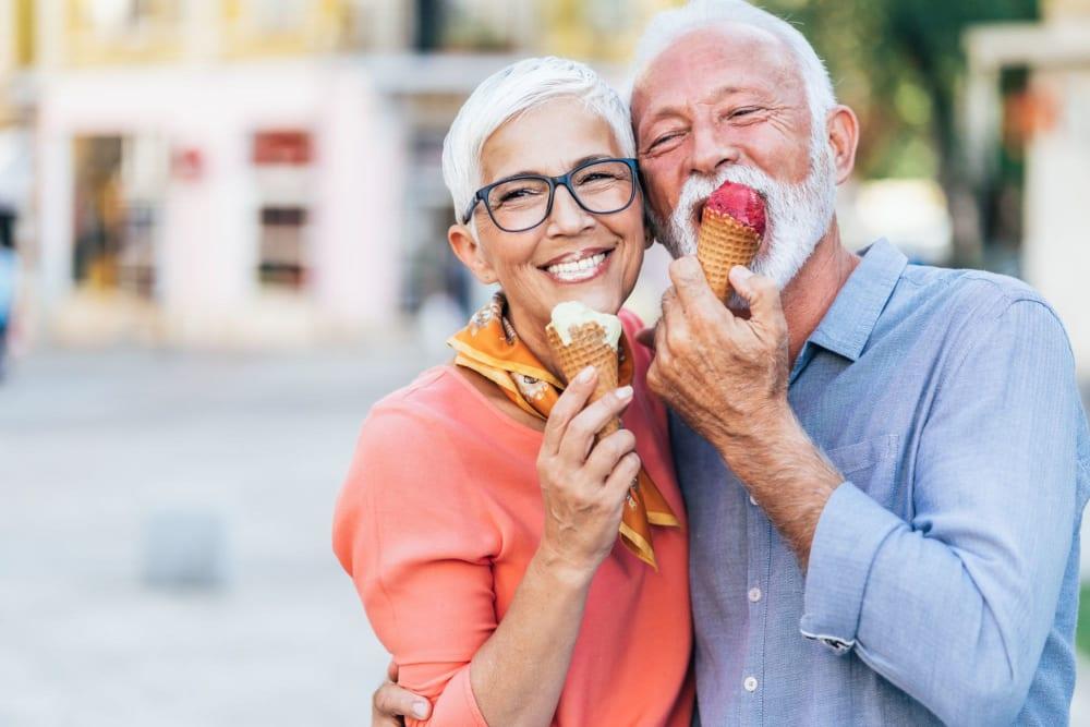 Friends getting ice cream together near Leisure Manor Senior Living in Sacramento, California