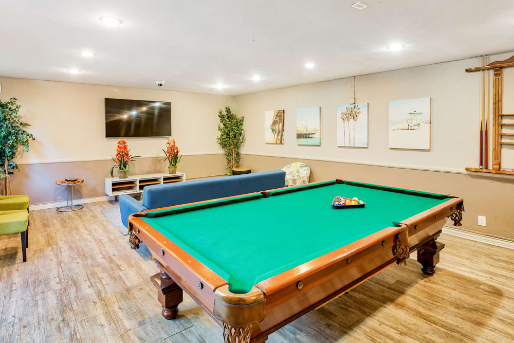 Billiards table in the clubhouse game room at Casa Granada in Los Angeles, California