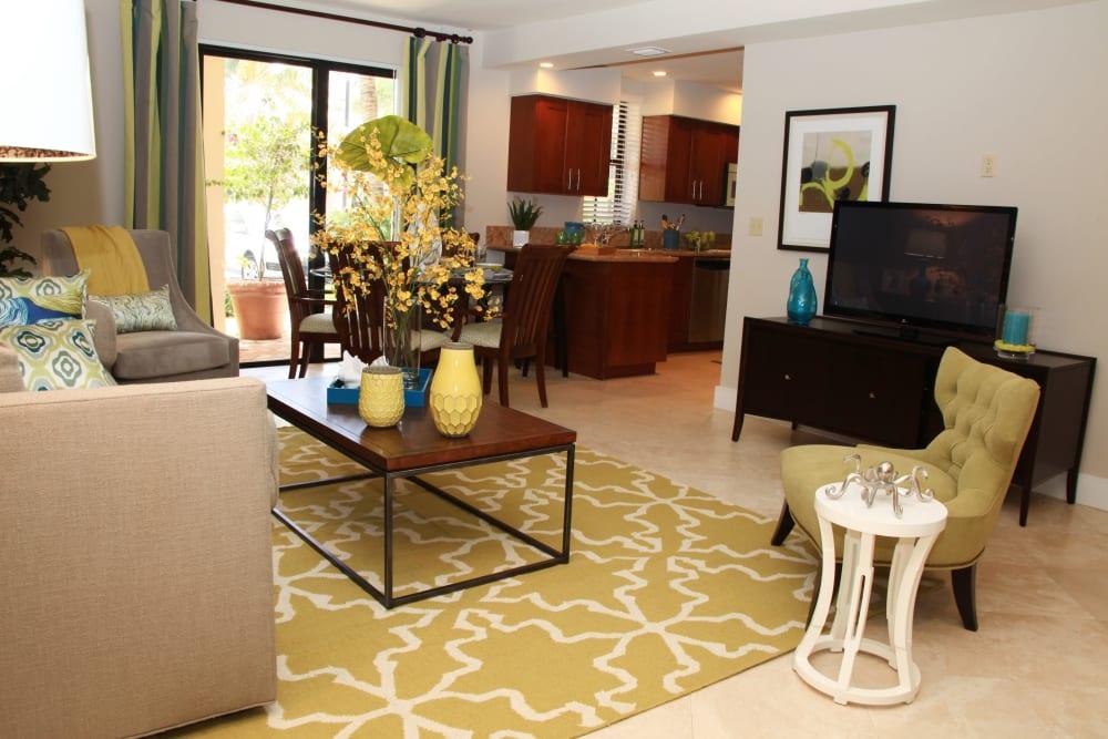 Bright living room at The Heritage at Boca Raton in Boca Raton, Florida