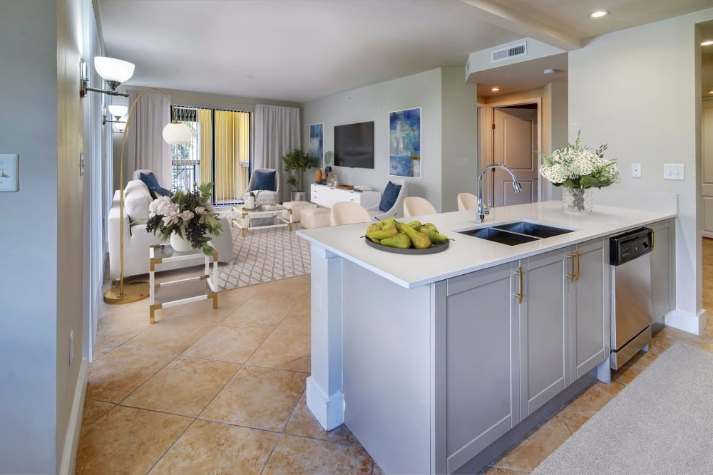 Kitchen with an island at The Heritage at Boca Raton in Boca Raton, Florida