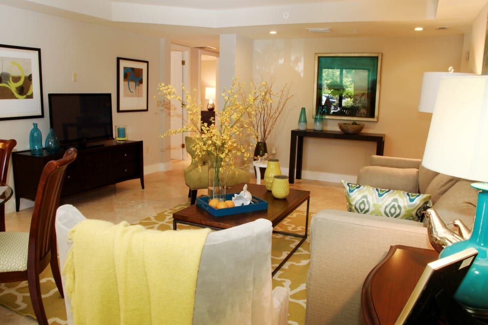 Fully furnished living room at The Heritage at Boca Raton in Boca Raton, Florida