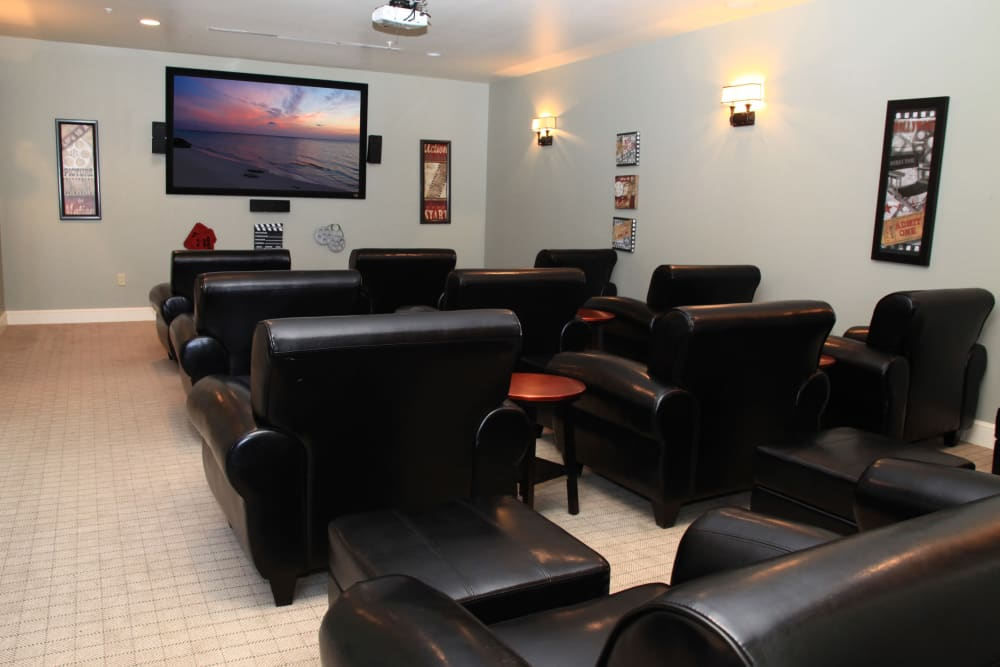 Onsite movie theater at The Heritage at Boca Raton in Boca Raton, Florida