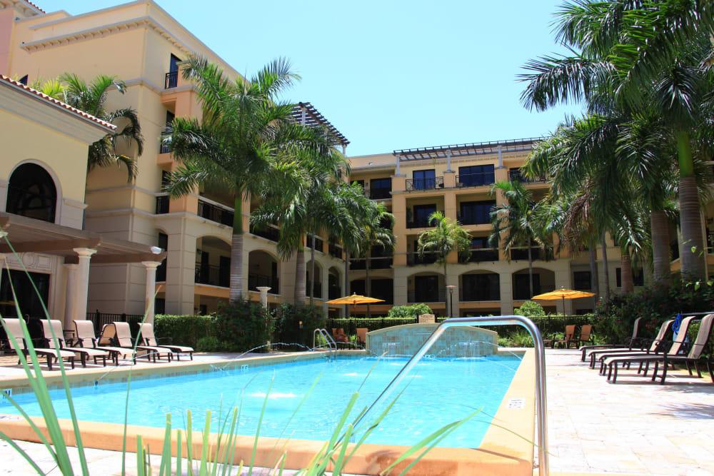 Sparkling swimming pool at The Heritage at Boca Raton in Boca Raton, Florida