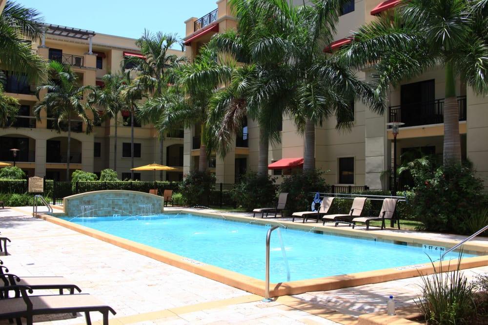 Luxurious swimming pool at The Heritage at Boca Raton in Boca Raton, Florida