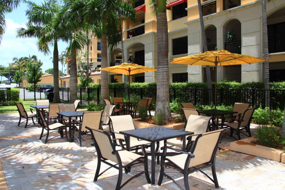 Poolside patio at The Heritage at Boca Raton in Boca Raton, Florida