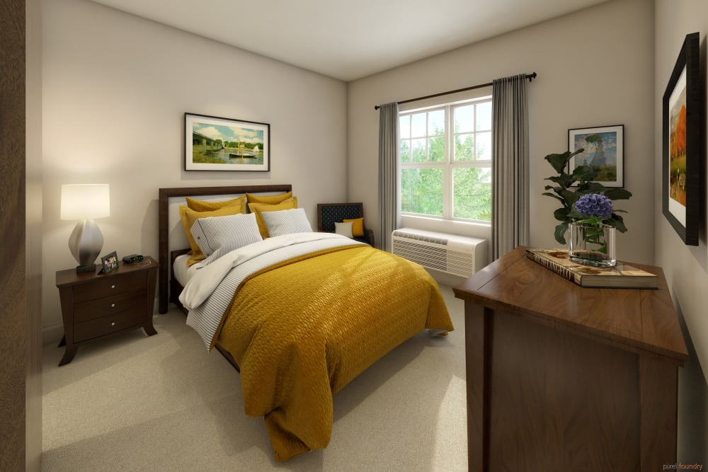 Bedroom in a model apartment at Anthology of Farmington Hills in Farmington Hills, Michigan