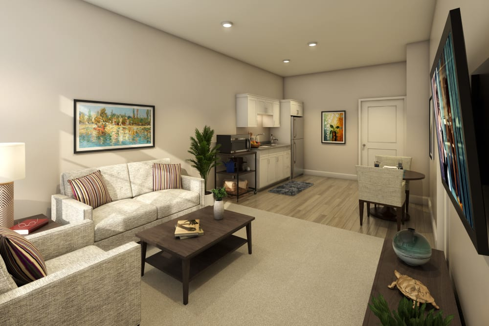 Living room in a model apartment at Anthology of Farmington Hills  - Opening Early 2022 in Farmington Hills, Michigan