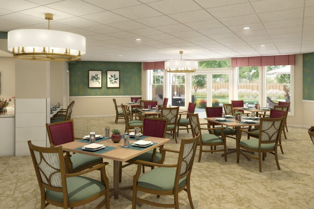 Community dining area at Anthology of Farmington Hills in Farmington Hills, Michigan