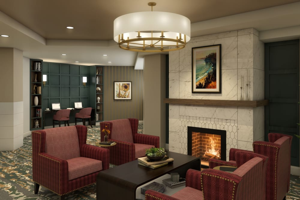 Cozy Fireplace at Anthology of Farmington Hills  - Opening Early 2022 in Farmington Hills, Michigan
