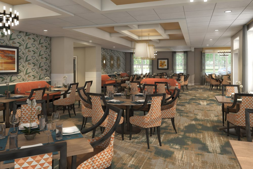 Dining room with big windows at Anthology of Farmington Hills  - Opening Early 2022 in Farmington Hills, Michigan