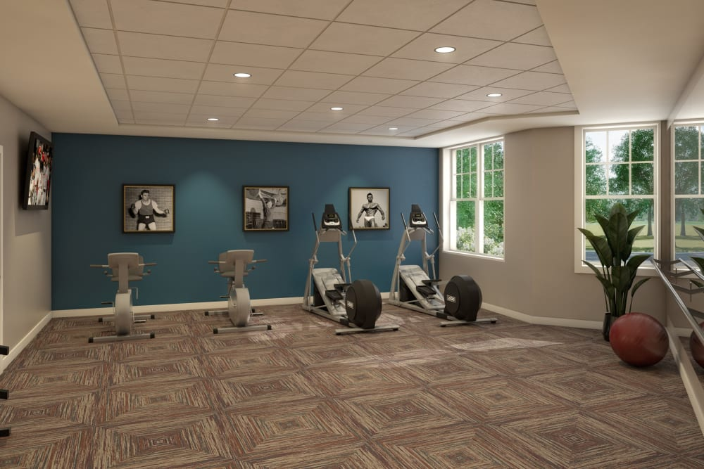 Rendering of a fitness center at Anthology of Farmington Hills in Farmington Hills, Michigan