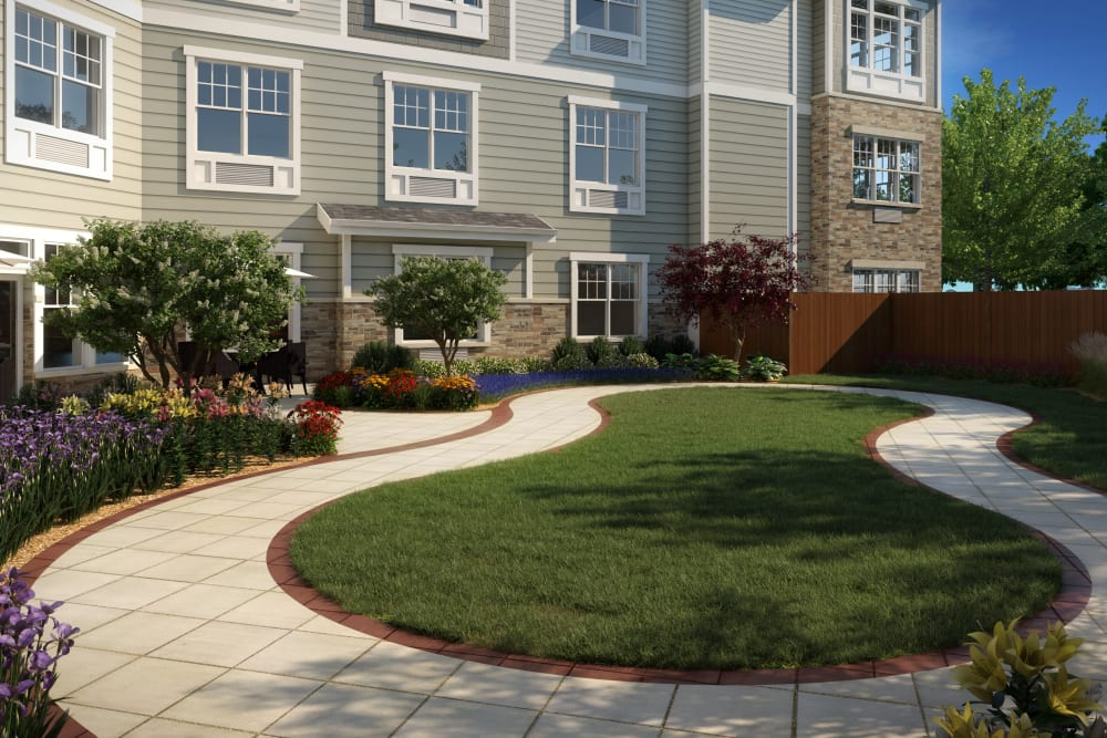 Front walkway at Anthology of Farmington Hills  - Opening Early 2022 in Farmington Hills, Michigan