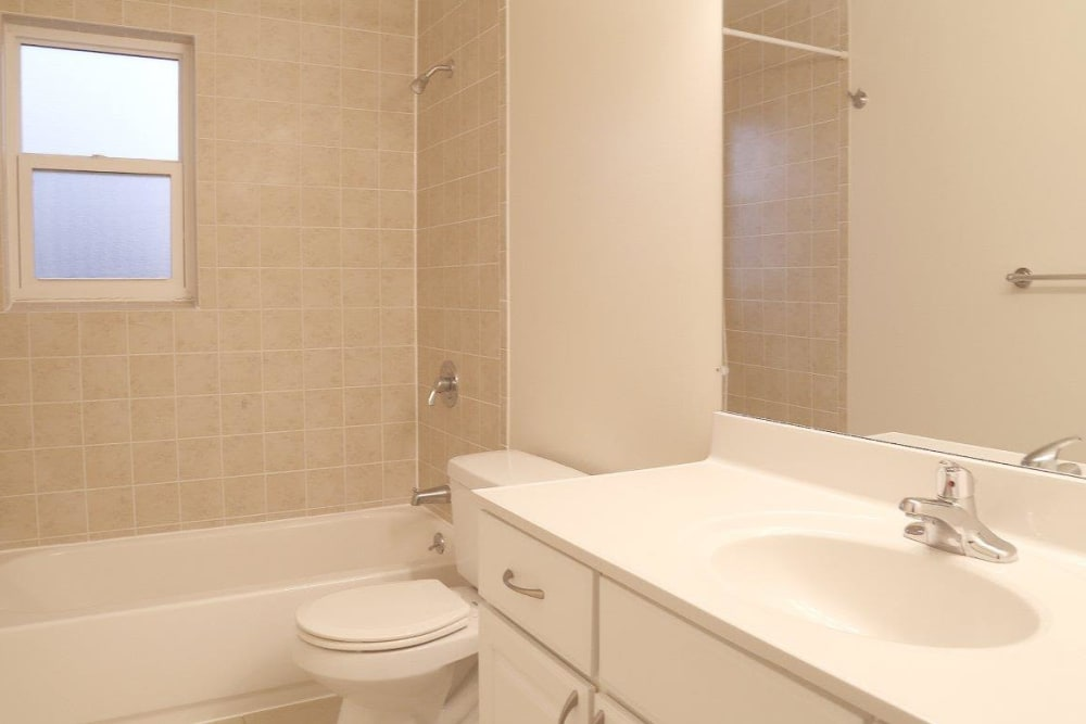 Very light bathroom with large mirror and ample counter space at Eagle Rock Apartments at North Plainfield in North Plainfield, New Jersey