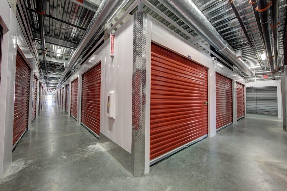 Hallways of internal storage units at Trojan Storage in Tigard, Oregon