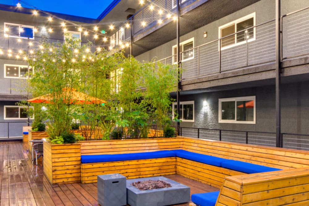 Outdoor lounge at Union 18 in Seattle, Washington