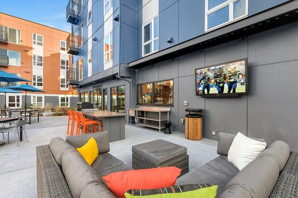 Outdoor lounge at Trillium Apartments in Edmonds, Washington