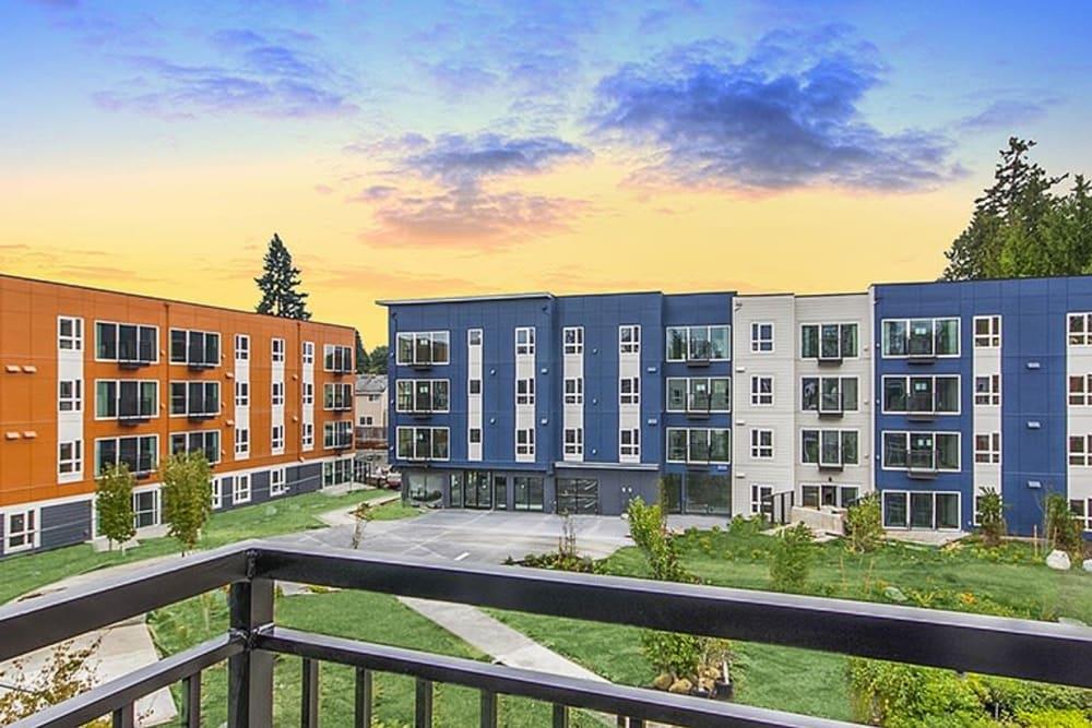 Sunset over Trillium Apartments in Edmonds, Washington