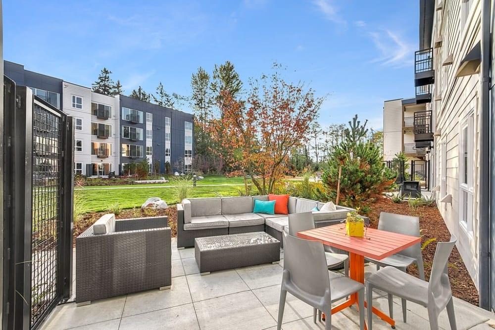 Outdoor meeting area near Trillium Apartments in Edmonds, Washington