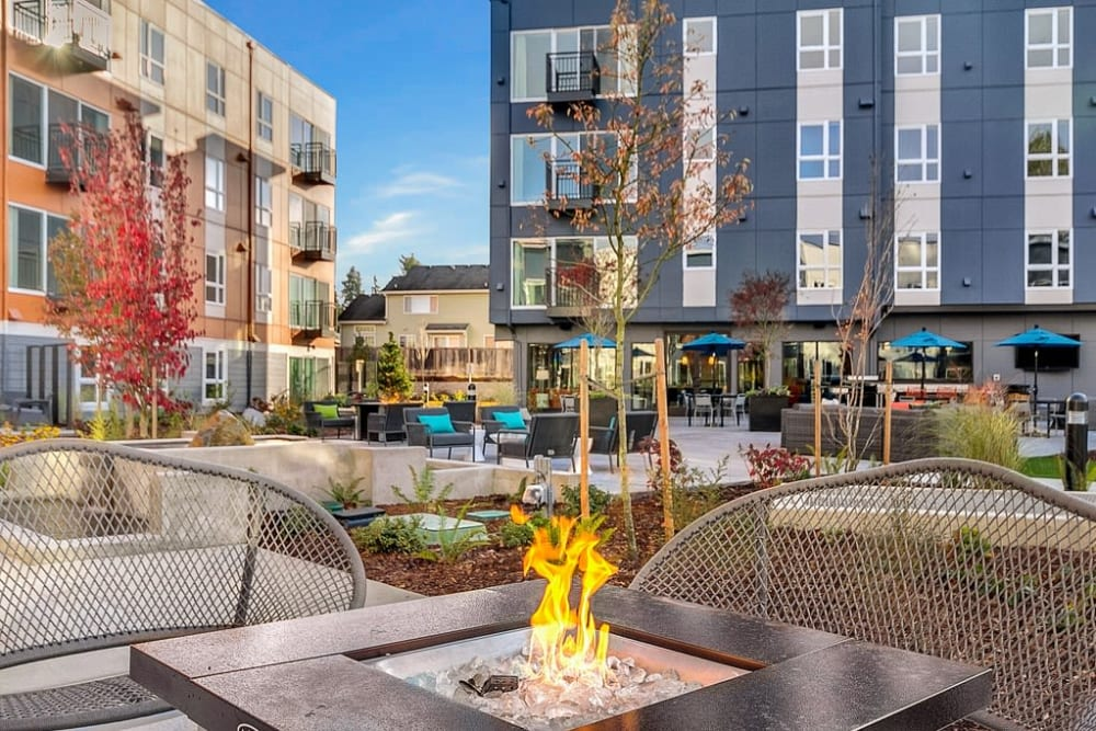 Outdoor fire pit at Trillium Apartments in Edmonds, Washington