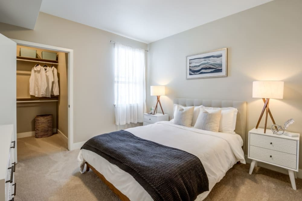 Bedroom with walk-in closet at The Wyatt Apartments in Fort Collins, Colorado