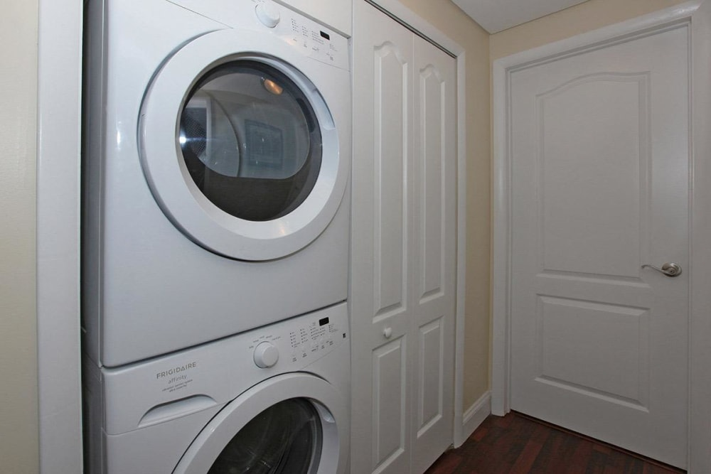 Washer and dryer in unit at Eagle Rock Apartments at West Hartford in West Hartford, Connecticut