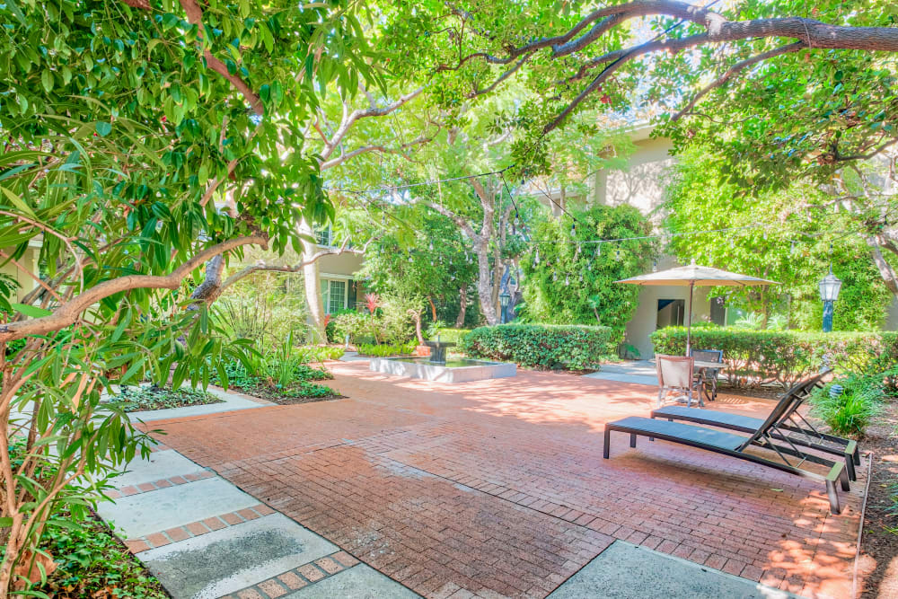 Comfortable seating area at one of the exterior courtyards with professionally maintained landscaping at Sunset Barrington Gardens in Los Angeles, California