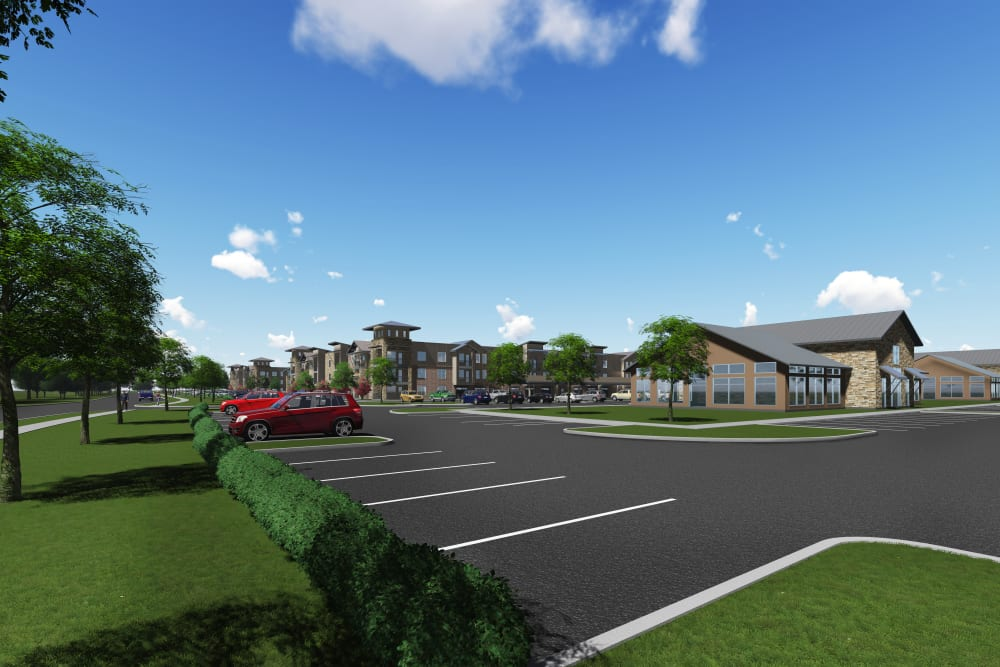 Spacious parking lots at Watermere at Flower Mound in Flower Mound, Texas