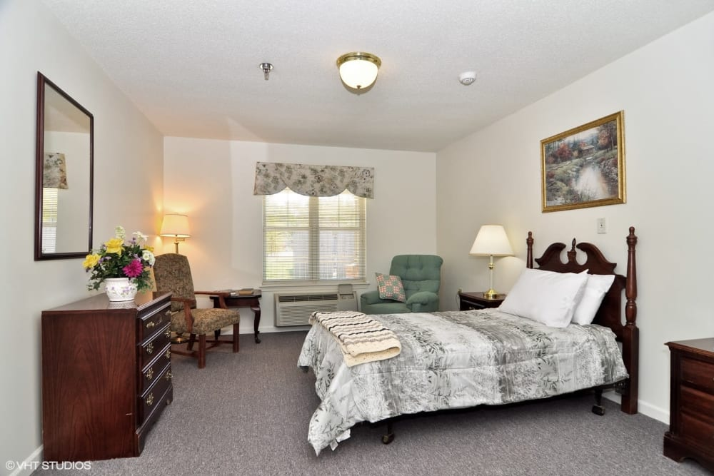 A resident bedroom at Chesapeake Place Senior Living in Chesapeake, Virginia
