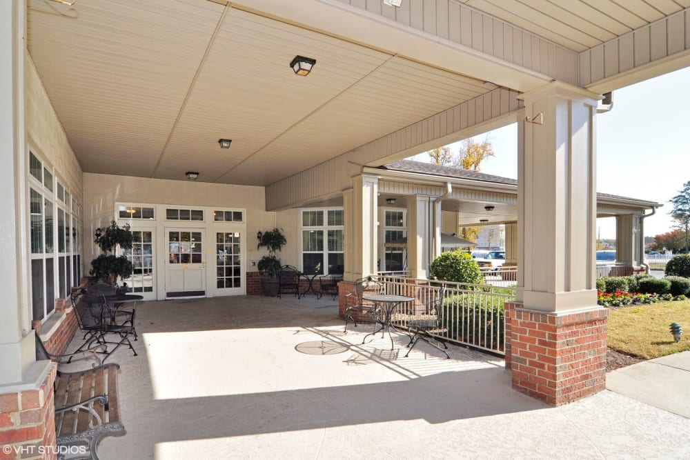 The front entrance to Chesapeake Place Senior Living in Chesapeake, Virginia.