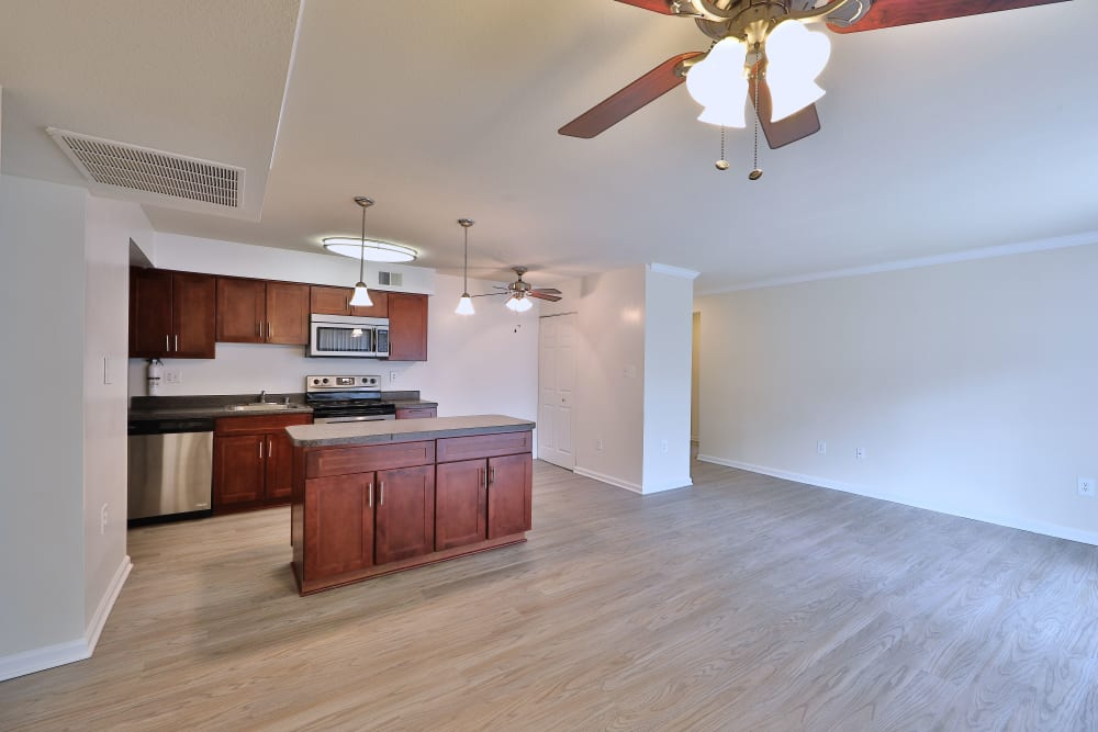 Kitchen island at Tamarron Apartment Homes in Olney, Maryland