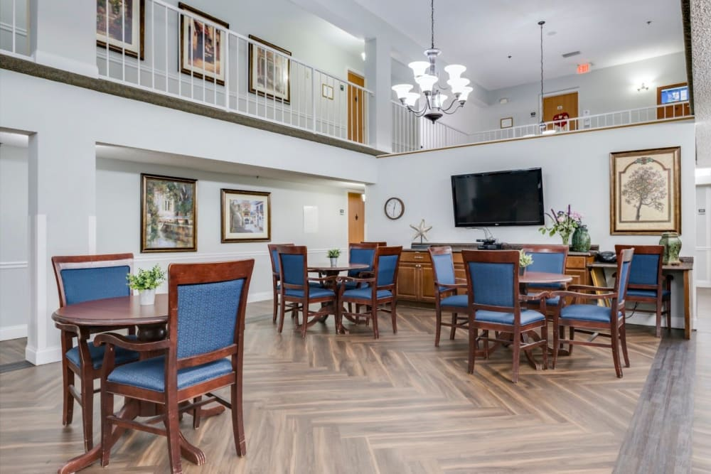 hall seating at Grand Villa of Altamonte Springs in Florida