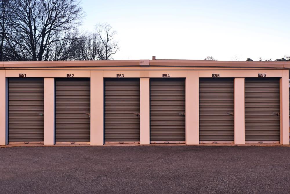 green door storage units at sunset at StayLock Storage in Mauldin, South Carolina