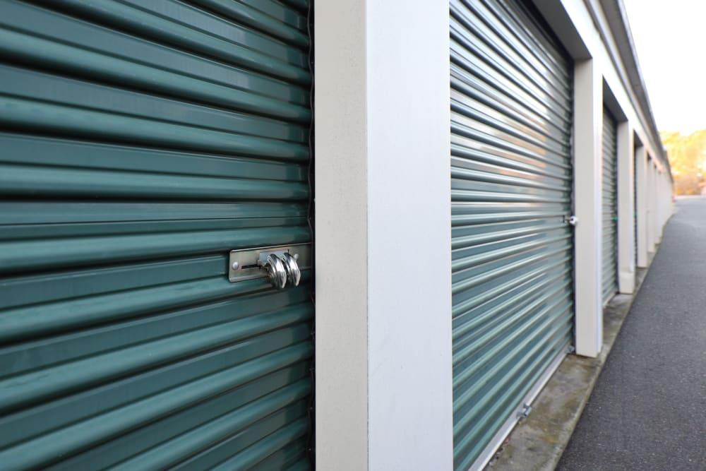 close up of green storage units StayLock Storage in Mauldin, South Carolina