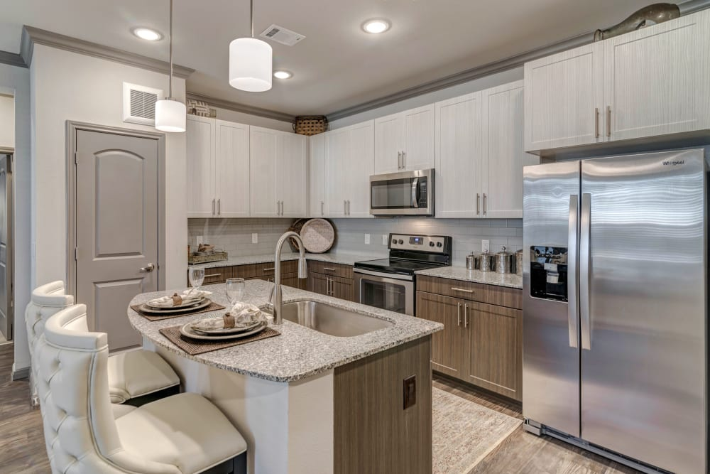 Fully equipped kitchen at Caliza in Cedar Park, Texas
