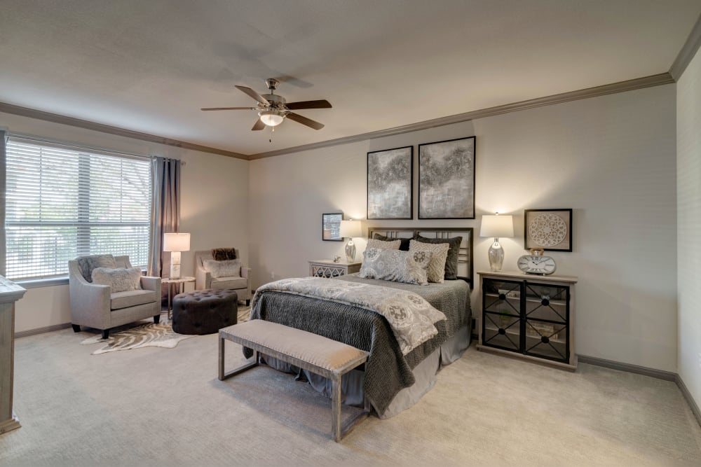 Bedroom with a ceiling fan at Caliza in Cedar Park, Texas
