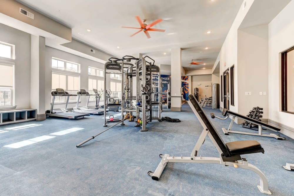 Fully equipped fitness center at Caliza in Cedar Park, Texas